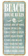 "BEACH HOUSE RULES Wood Plaque Sign Wall Hanging 20"" x 9"" Nautical Coastal Decor"
