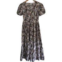 Laura Ashley Women's Tea Dress Size M 8-10 Puff Sleeve Floral Maxi Vintage