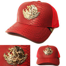 Mexico Trucker Snapback Hat Red Snake Skin Artificial Leather Gold badge Cap