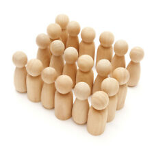 More details for 60 unfinished wooden peg dolls 65mm small bodies people decorations for kids art