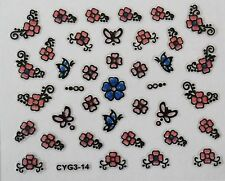 Accessoire ongles : nail art ,Stickers autocollants, fleurs et papillons roses