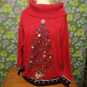 Vintage Beaded Sparkly Red Knitted Christmas Tree Ugly Polo Neck Jumper Sz XXL