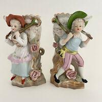 Vintage Victorian Ceramic Hand Painted Japan Girl and Boy Vase Planter