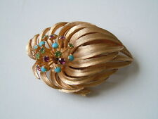 Massive goldfarbene Modeschmuck PASTELLI designer Brosche Farbsteine 24,1 g