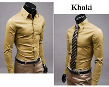 Men Fashion Luxury Long Sleeves Casual Suits Slim Fit Formal Dress Shirts Tops