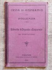 Cassa di Risparmio Pollenza Libretto di deposito a risparmio al portatore 1906