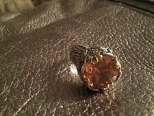 ANTIQUE CITRINE 14 Ct CITRINE AND STERLING RING STUNNING OLD HOLLYWOOD Lot Gjs