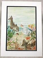 Originale Acquerello Pittura sotto il Mare Pesci Girls per Bambini Libro Grafica