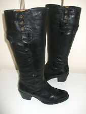 Stunning Clarks Black Soft Leather Long Boots Uk Size 4.5 D