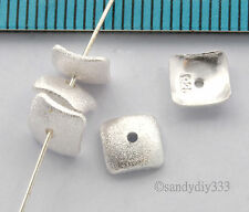 6x STRERLING SILVER FROSTED SQUARE CURVED BEAD SPACER CAP 6mm N073