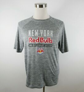 MLS New York Red Bulls Mens Polyester SS Heather Gray Activewear T Shirt Large