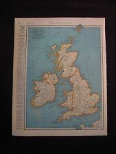 Vintage 1940 Color Map of The British Isles UK from Colliers World Atlas
