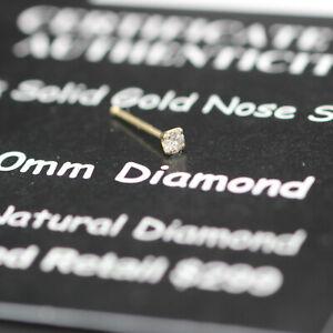 "NEW REAL GENUINE DIAMOND NOSE STUD RING 2MM 14K KARAT SOLID GOLD 25G 1/4"" (6 MM)"