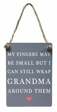 """Vintage Mini Blue Metal """"My fingers may be small, Grandma"""" Sign/Plaque 7x9cm"""