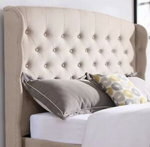 DeCoro Brighton Upholstered Platform Bed   Headboard and Wood Frame with Wood  