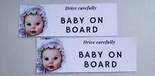 Baby On Board Bumper Stickers, 2 Pack, 3x9in Made In USA