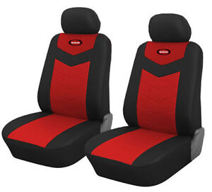 2 Red Leather Vinyl Front Car Seat Covers for Mercury #8257