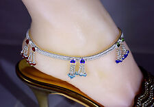 Bollywood Designer Cz Silver Tone Indian Anklets Payal Pi - 1 Pair