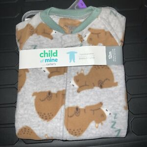 New Baby Boys Girls 12 Months Bear Blanket Sleeper Footed Pajamas Child of Mine