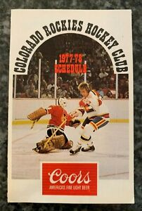 Vintage 1977-78 Colorado Rockies Pocket Schedule Coors NHL