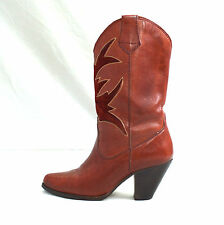 Vintage Thick Brick Red Leather Inlay TOWN COUNTRY Western Heel Cowboy Boots 6 B