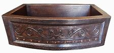 Rounded Apron Front Farmhouse Kitchen Mexican Copper Sink 33x22 Fleur De Lis #02