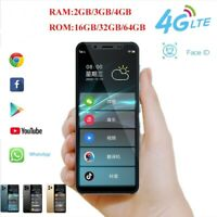Ultra Thin Mini 4G LTE Smartphone 4.8'' Android 9.0 Dual SIM Face ID Google Paly