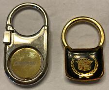 Lot Of 2 Cadillac Dealer Keychain Key Ring FOB Gold Tone Logo Advertising Promo