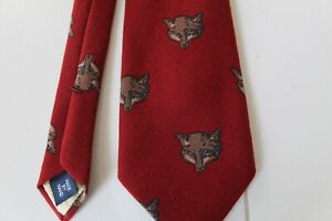 POLO RALPH LAUREN FOX HEADS BURGUNDY WOOL TIE HAND MADE USA