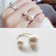 Fashion Lady Women 2 Faux Pearl Ring Party Wedding Open Adjustable Jewelry Gifts