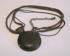 brown glass pendant 44 - 52 cm Lovely brown suede and bronze tone chain necklace