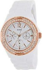 New Authentic GUESS  White Plastic Rose Gold-tone 3 dials Watch U0062L6 , NWT
