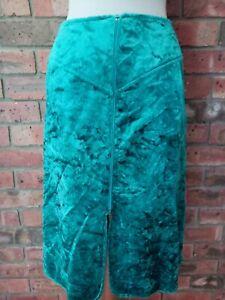 Original Vintage 1970s Zip Up Green Crushed Velvet Skirt Mr Simon