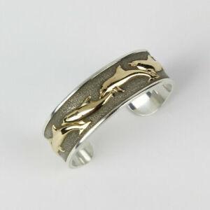 Sterling Silver & 14k Gold Cuff Bracelet - Kabana - 9 Dolphins 30 grams