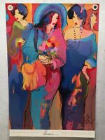 """Isaac Maimon """"Angels"""" Ladies of Paris 1992 Signed Lithograph Poster 24 x 36"""