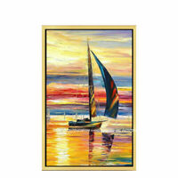 ZWPT1537 100% hand painted oil painting sail boat landscape art on Canvas