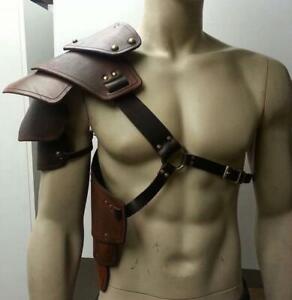 Men Medieval Shoulder Costume Armors Cosplay PU Battle Knight Pauldron Armor