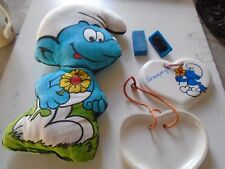 SMURF LOT OF 3 ITEM RARE. PILLOW, PLATE AND STAMP