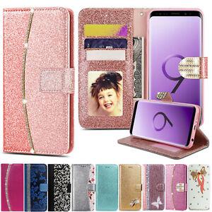 Bling Glitter Crystal Diamond Leather Wallet Flip Phone Case Cover For Samsung