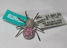 EFFY Spider Brooch Jeweled Wh Gold, Diamond, and Pink Sapphire w Pouch Halloween