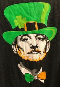Vintage St. Patrick's Day Bill Murray T-Shirt Gray Chive Tees Size M Keep Calm