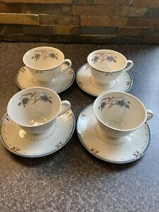 SET OF FOUR ROYAL DOULTON OLD COLONY TEA CUPS AND SAUCERS.