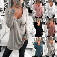Women Sexy V-Neck T-Shirt Tops Loose Long Sleeve Casual Pocket Blouse