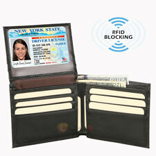Mens Wallet Genuine Leather ID Card Case Bifold Passcase Purse RFID Blocking USA