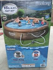 Brand New Bestway Fastset 15 ft x33in Above Ground Swimming Pool Set Filter Pump