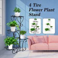 4 TIER Metal Shelves Flower Pot Plant Stand Display Home Indoor Outdoor  -.