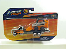 Maisto Adventure Force DIE-CAST TRUCK & TRAILER GMC Roll Back w/Skid Steer.1:64.