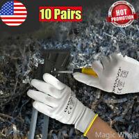 10 Pairs PU Nitrile Safety Coating Work Palm Coated Glove Mechanic Working Glove