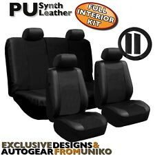 Solid Black Synthetic Leather Seat Covers 13 Piece Kit Front Back Bench CS1