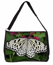 Black and White Butterfly Large Black Laptop Shoulder Bag School/Colleg, IBU-9SB